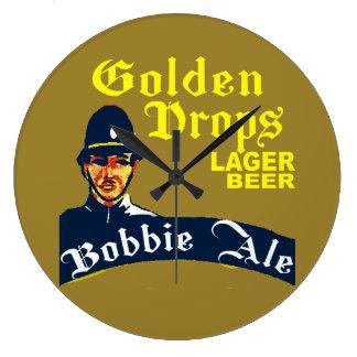 Relógio Grande Gotas douradas/cerveja inglesa de Bobbie