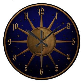 Relógio Grande Gráfico de bronze do alivio de Bas da lua