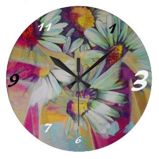 Relógio Grande Grande buquê redondo da flor da margarida do pulso
