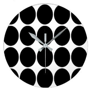 Relógio Grande Grande impressão preto das bolinhas