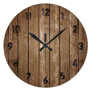 Relógio Grande Grande pulso de disparo das pranchas de madeira