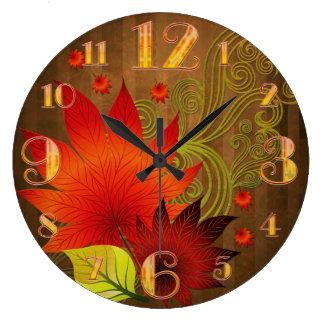 Relógio Grande Grande pulso de disparo de parede das folhas de ou