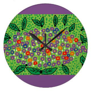 Relógio Grande grande pulso de disparo redondo com design floral