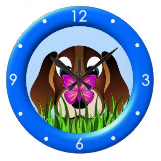 Relógio Grande Grande pulso de disparo redondo da borboleta