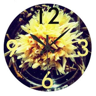 Relógio Grande Grande pulso de disparo redondo da flor amarela