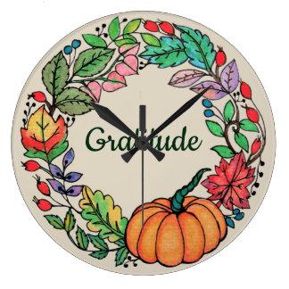 Relógio Grande Grinalda bonita da abóbora da aguarela com folhas