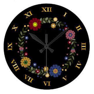 Relógio Grande Grinalda floral simples no preto