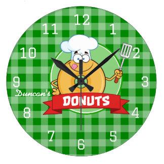 Relógio Grande Guingão do verde do cozinheiro chefe da cozinha da