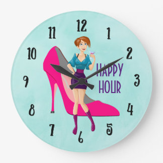 Relógio Grande Happy hour cor-de-rosa do salto e do party girl de