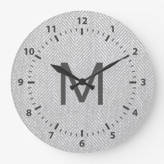 Relógio Grande Herringbone subtil moderno das cinzas & do branco