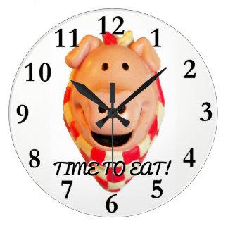 Relógio Grande Hora de comer, porco bonito