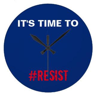 Relógio Grande Hora de resistir o azul branco vermelho patriótico