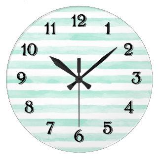 Relógio Grande Hortelã chique e listras brancas