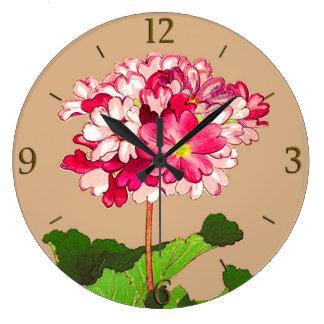 Relógio Grande Hydrangea do japonês do vintage. Rosa e verde
