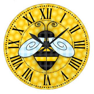 Relógio Grande Ícone de zumbido do zangão e do favo de mel sem o