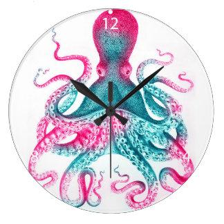 Relógio Grande Ilustração do polvo - vintage - kraken