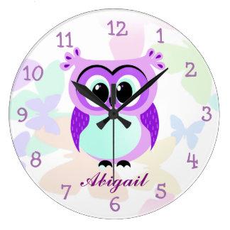 Relógio Grande Ilustração roxa e do lilac da mãe e do bebê da