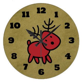 Relógio Grande Ilustração vermelha da rena do Natal