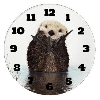 Relógio Grande Imagem bonito dos animais selvagens da lontra