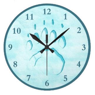Relógio Grande Impressão da pata de urso polar