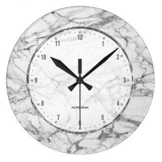 Relógio Grande Impressão de mármore branco com Crackles cinzentos