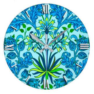 Relógio Grande Impressão do jacinto de William Morris, azul