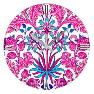 Relógio Grande Impressão do jacinto de William Morris, rosa do