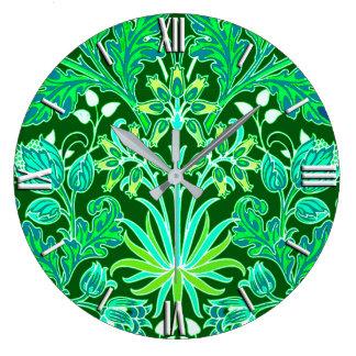 Relógio Grande Impressão do jacinto de William Morris, verde