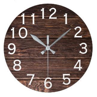 Relógio Grande Impressão horizontal de madeira de vista autêntico