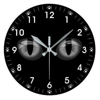 Relógio Grande Impressões cinzentos da pata dos olhos de gatos