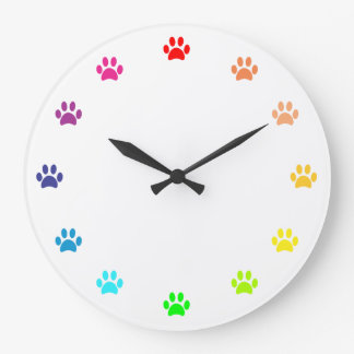 Relógio Grande Impressões pintados arco-íris da pata como números