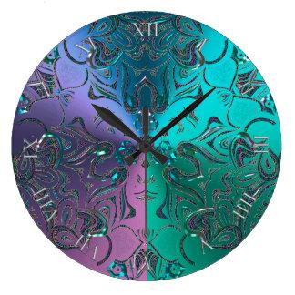 Relógio Grande Inclinação metálico Hued legal Jeweled da mandala