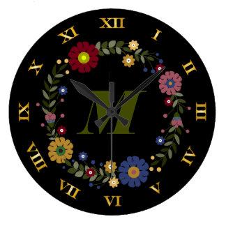 Relógio Grande Inicial Monogrammed da grinalda floral simples no