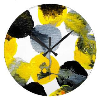 Relógio Grande Intertactions do amarelo, o cinzento e o preto