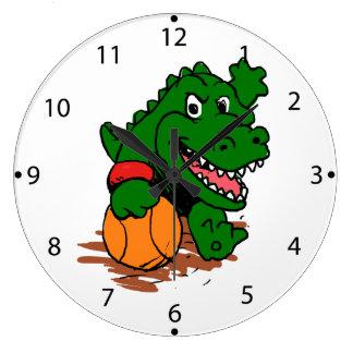 Relógio Grande Jacaré que joga o basquetebol