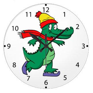 Relógio Grande Jacaré que patina com chapéu e lenço