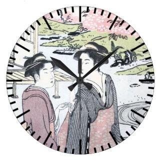 Relógio Grande Japonês Ukiyo-e Niwa nenhum hanami por Eishi