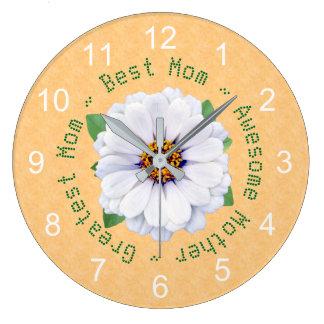 Relógio Grande Jardim do Zinnia branco do dia das mães