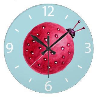 Relógio Grande Joaninha abstrato esférico bonito da aguarela