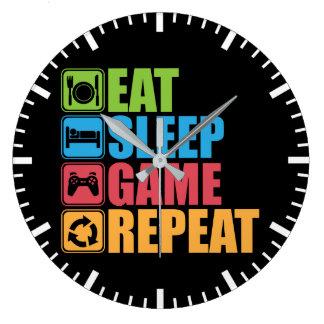 Relógio Grande Jogo - coma, durma, jogo, repetição - Gamer,