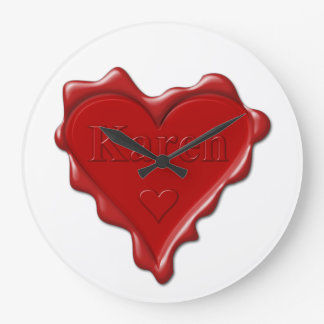 Relógio Grande Karen. Selo vermelho da cera do coração com Karen