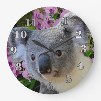 Relógio Grande Koala e orquídeas