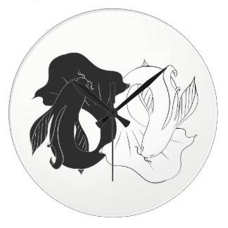 Relógio Grande Koi de Ying e de Yang