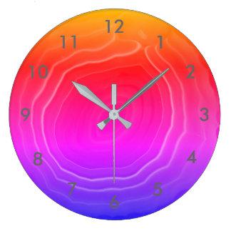 Relógio Grande Laranja azul do rosa da fatia da ágata com números
