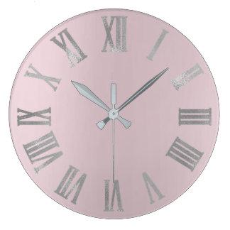 Relógio Grande Lavanda cor-de-rosa Numers romano metálico mínimo