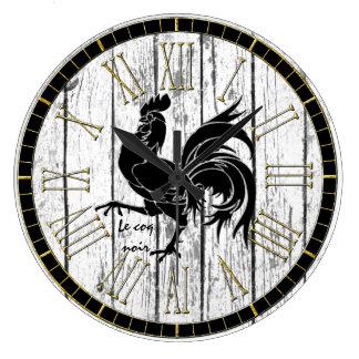 Relógio Grande Le coq noir o galo preto resistiu à madeira