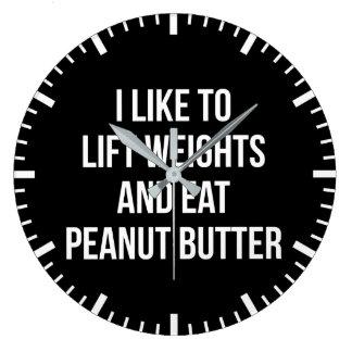 Relógio Grande Levante pesos e coma a manteiga de amendoim - body