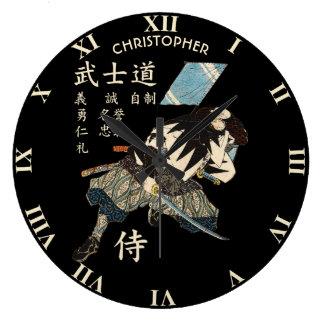 Relógio Grande Língua japonesa do samurai de Bushido de oito