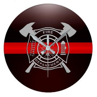 Relógio Grande Linha vermelha fina casa de quartel dos bombeiros