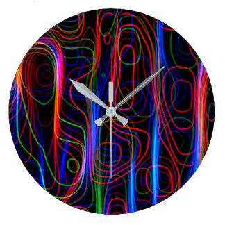 Relógio Grande Linhas curvadas coloridos de néon MUITO LEGAL